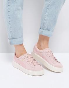 Розовые кроссовки из замши и атласа на плоской платформе Puma - Розовый