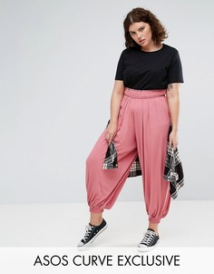 Гаремные брюки с присборенным поясом ASOS CURVE - Розовый