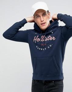 Темно-синий худи классического кроя с логотипом Hollister - Темно-синий