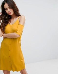 Трикотажное платье на пуговицах Boohoo - Желтый