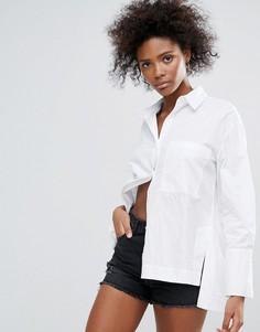 Поплиновая oversize-рубашка бойфренда Neon Rose - Белый