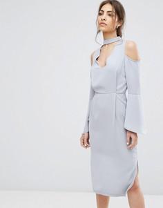 Платье миди с глубоким вырезом Neon Rose - Серый