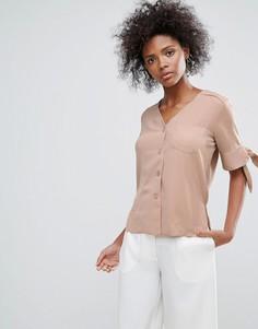 Рубашка с завязками на рукавах Neon Rose - Коричневый