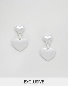 Серьги-гвоздики с двумя сердцами Reclaimed Vintage Inspired - Серебряный