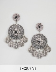 Серьги с подвесками-монетками Reclaimed Vintage Inspired - Серебряный