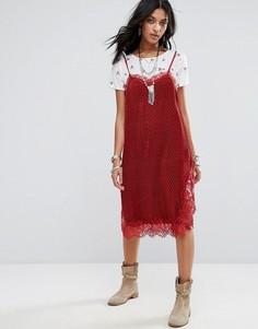 Платье-комбинация в горошек Free People Margot - Красный