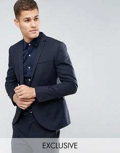 Льняной приталенный пиджак Noak Wedding - Темно-синий