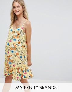 Платье с баской New Look Maternity - Желтый