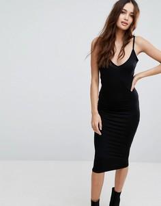 Платье миди на бретельках с V-образным вырезом Boohoo - Черный