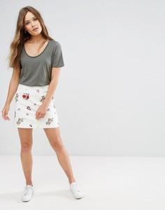 Юбка с цветочной вышивкой New Look - Белый