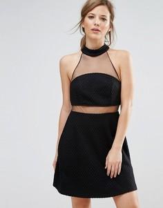 Платье мини с сетчатой вставкой New Look - Черный