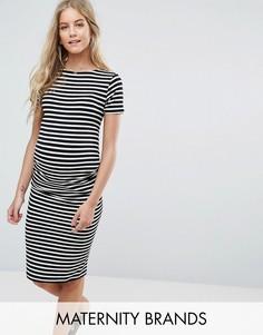 Платье миди с присборенной отделкой сбоку New Look Maternity - Черный