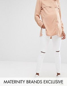 Белые зауженные джинсы с рваной отделкой Missguided Maternity - Белый