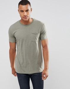 Удлиненная футболка с карманом и ступенчатым краем Redefined Rebel - Зеленый