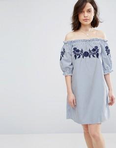 Платье в полоску с открытыми плечами и вышивкой Parisian - Синий