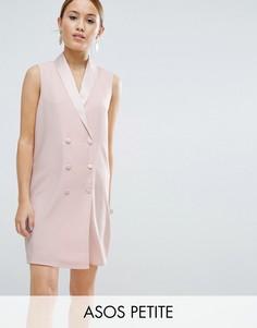 Платье в стиле смокинга без рукавов ASOS PETITE - Розовый