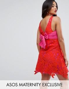 Платье с кружевной накладкой ASOS Maternity - Красный