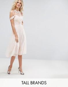 Платье миди с открытыми плечами, плиссированным лифом и кружевной аппликацией Little Mistress Tall - Розовый