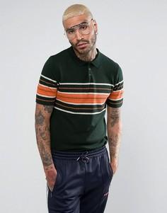 Зеленая трикотажная футболка-поло из фактурной ткани ASOS - Зеленый