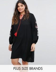 Свободное платье с вышивкой на рукавах Alice & You - Черный