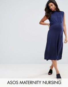 Платье миди с воротником-стойкой ASOS Maternity NURSING - Темно-синий