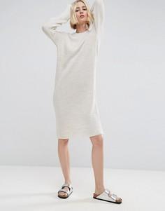 Вязаное платье миди с молнией сбоку ASOS - Бежевый