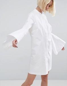 Платье-рубашка мини с рукавами клеш ASOS WHITE - Белый