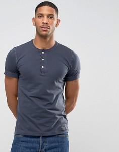 Облегающая футболка хенли темно-синего цвета с манжетами в рубчик Abercrombie & Fitch - Темно-синий