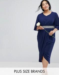 Платье миди с рукавами-кимоно и юбкой с запахом TFNC Plus Wedding - Темно-синий