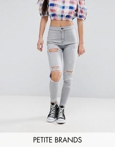 Выбеленные джинсы скинни с рваными коленями New Look Petite - Серый