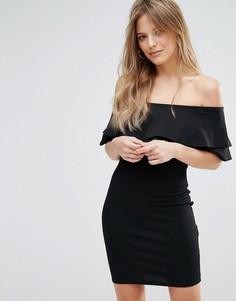 Облегающее платье с оборкой и широким вырезом New Look - Черный