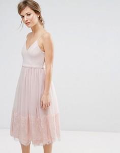 Платье миди из тюля для выпускного New Look - Розовый