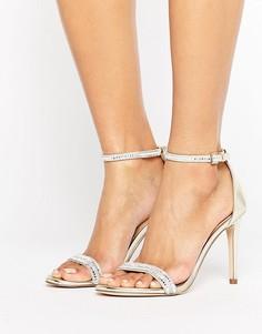 Золотистые сандалии из двух частей на каблуке ALDO Ciasa - Золотой
