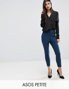 Облегающие брюки с завышенной талией ASOS PETITE - Зеленый