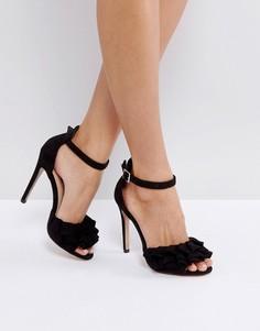 Черные босоножки на каблуке с рюшами Lost Ink - Черный