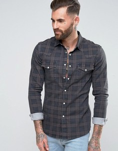Серая узкая джинсовая рубашка в стиле вестерн с узором в клетку ASOS - Серый