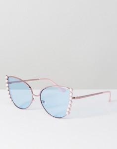 Декорированные солнцезащитные очки кошачий глаз ASOS - Розовый