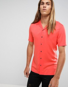 Коралловая вискозная рубашка скинни с отложным воротником ASOS - Розовый