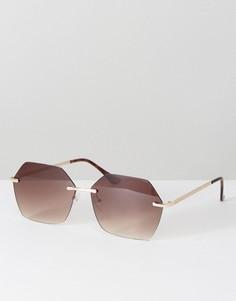 Шестиугольные солнцезащитные очки без оправы ASOS - Золотой