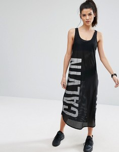 Сетчатое платье с логотипом Calvin Klein - Черный