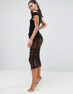 Полупрозрачная юбка миди из тюля с трусами ASOS - Черный