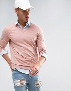 Розовый хлопковый джемпер с V-образным вырезом ASOS - Розовый