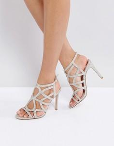 Босоножки на каблуке с решеткой из ремешков Faith Lisbon - Золотой