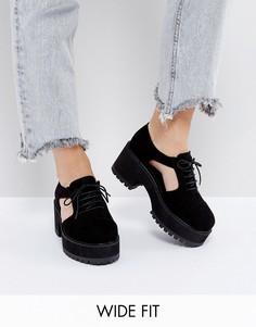 Туфли для широкой стопы на шнуровке, с толстой подошвой и вырезами по бокам ASOS OAKE - Черный