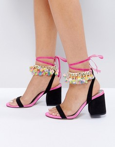 Босоножки на блочном каблуке с помпонами ASOS HUNKY DORY - Мульти