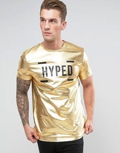Удлиненная футболка с эффектом металлик и принтом ASOS - Золотой