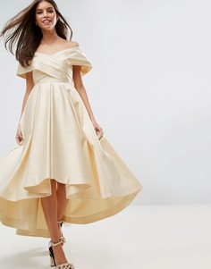 Атласное платье мини в винтажном стиле с удлиненным сзади подолом ASOS BRIDAL - Кремовый
