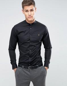 Узкая строгая рубашка с воротником на пуговице Farah - Черный