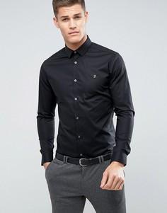 Строгая рубашка узкого кроя с длинными рукавами Farah - Черный