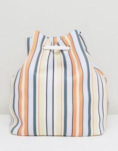 Полосатый рюкзак со шнурком ASOS JUMBO JET LIFESTYLE - Мульти